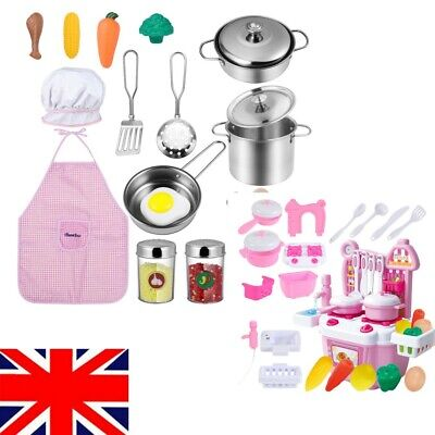 Children's Kitchen Pretend Role-Play Toys - Cutlery Plates Cups Pots Pans Food • 13.89£