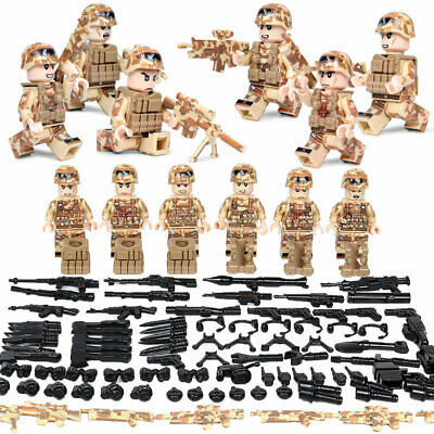 WW II Camouflage Soldiers Set 6 Mini Figures + Accessories Military Set Fit Lego • 14.99£
