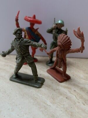 Vintage Crescent Toy Soldiers Mexican - Indian - Ww2 - Plastic Figures • 7.50£