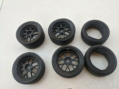 1/10th Wheels With Tyres.  Black. • 10£