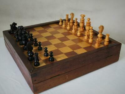 Antique Chess Set Small French Regence  And Vintage  3 Games Board • 69.99£