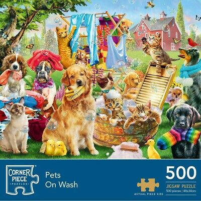 Pets On Wash 500 Piece Jigsaw Puzzle (null), Toys & Games, Brand New • 6£