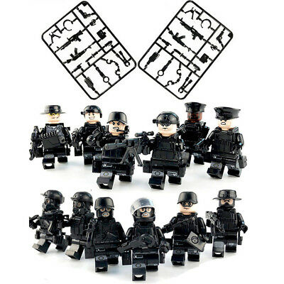 12 PCS SWAT POLICE Military Mini Figures Weapon Army SS Soldier Fit Lego Toys • 9.99£