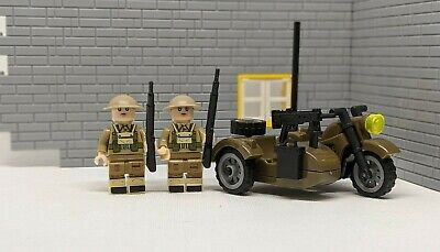 WW2 British Motorcycle With Sidecar Plus 2 Solider Fit Lego Brick Minifigure Uk • 8.99£