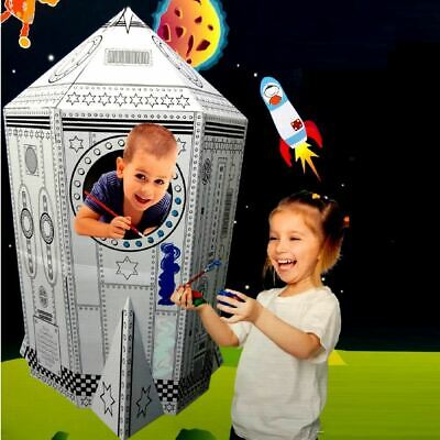 Colour Your Own Rocket Ship House Childrens Playhouse Kids Cardboard Wendy Tent • 16.99£