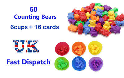 Counting Bears With Stacking Cups Montessori Colour Sorting Matching Game Toys  • 10.97£