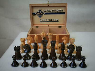 VINTAGE CHESS SET GERMAN IMPERIAL BUNDESFORM PATTERN K 86mm And  BOX - NO BOARD • 159.99£