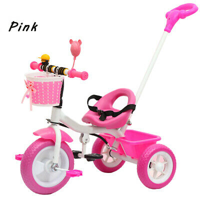 New Pink Kids Trike Boys Girls Push Along Tricycle BIKE 3 Wheeler Tricycle  • 38.99£