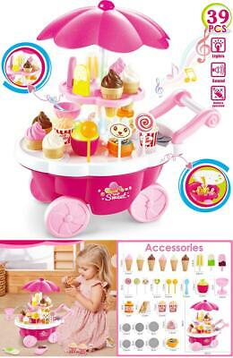 Buyger 39pcs Plastic Ice Cream Cart Play Food Set Shop Toy With Music And Lights • 25.99£