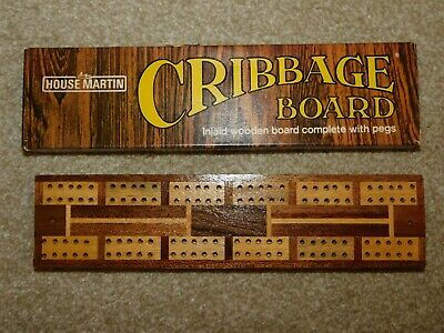 Vintage House Martin Inlaid Wooden Cribbage Board With Pegs, Boxed • 14£