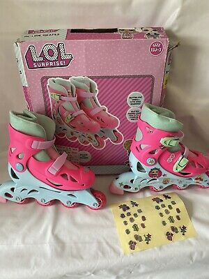 LOL Surprise Kids In-Line Roller Skates With Glitter Sock And Sticker Size 13J-3 • 12.99£