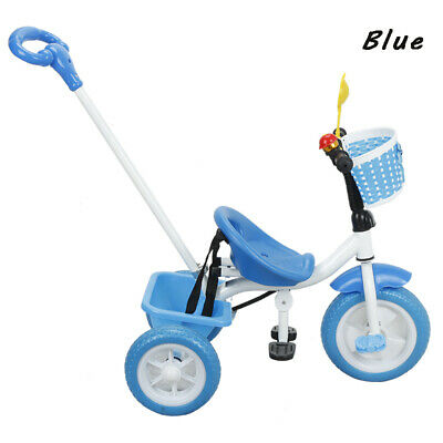 New Blue Kids Trike Boys Girls Push Along Tricycle BIKE 3 Wheels Tricycle Gifts • 29.99£