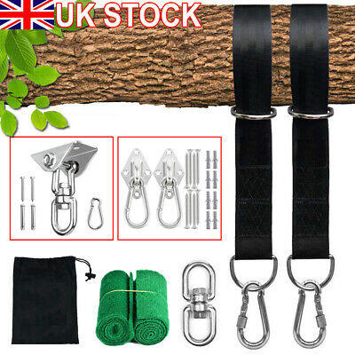 Swing Hammock Tree Hanging Kit Strap Hooks Carabiner Garden Swing FittingS 300KG • 7.99£