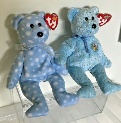 TWO Retired TY Beanie Baby Bears  Bubbly  (2003) And  Decade  (2003) • 2.30£
