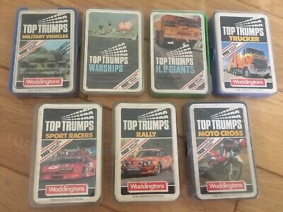 7 Sets Vintage Top Trumps - Military Vehicles, Warships, Trucker, H. P. Giants • 3.53£