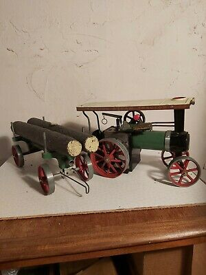 Mamod Vintage Steam Traction Engine Toy With Log Trailer.  • 46£