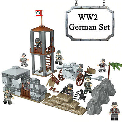 Military Base WW2 Set + 10 Army Soldiers Germany Blocks Fit Lego UK SELLER • 23.99£