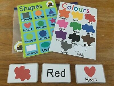 Colours Shapes Flash Cards Kids Toddlers Preschool Early Learning Resource Sen  • 5.25£