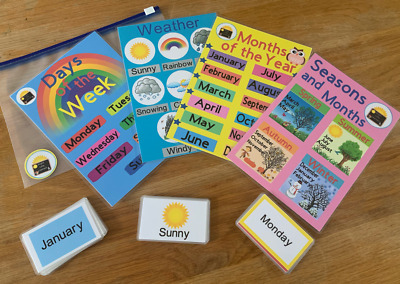 Days Months Seasons Weather Set Flash Cards Early Learning Resource Sen • 6£