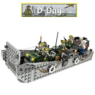 WW2 Military Landing Craft Boat + Army Jeep Truck + Soldiers Normandy Fit Lego  • 25.99£