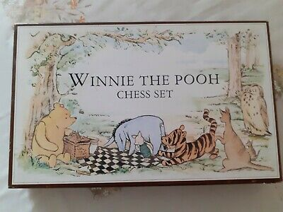 S84 WINNIE The POOH Chess Set And Board 9cm King 5cm Squares Hand Decorated • 34.99£