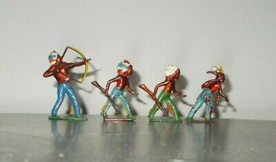 CRESCENT VINTAGE 4 STANDING NATIVE AMERICAN INDIANS With METALIC BRONZED BODIES • 12£