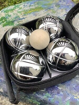 Mini Boules X 4-With Jack-in Zip Up ' Travel' Case-Metal 250g Each-Peg & Twine • 14.90£
