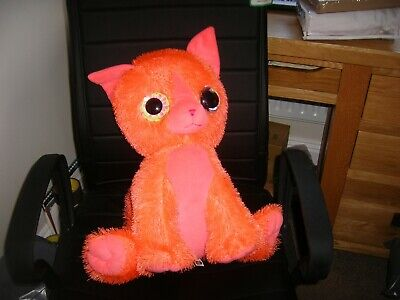 Large 18  Orange Cat With Large Eyes Pre-owned Soft Toy • 4£