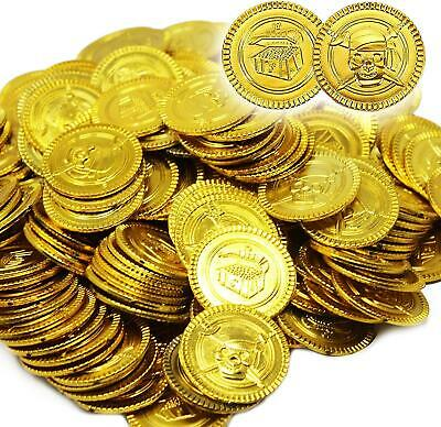 12 X Gold Pirate Coins 2.4cm Stage Do Pirate Fancy Dress Party Accessory • 1.49£