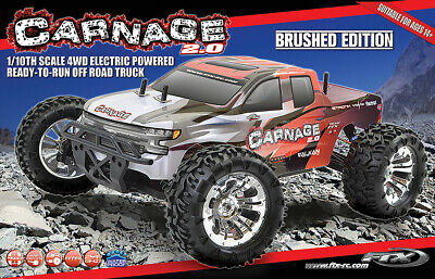 Ftx 5537r Carnage 2.0 1/10 Brushed Truck 4wd Rtr - Red • 129.95£