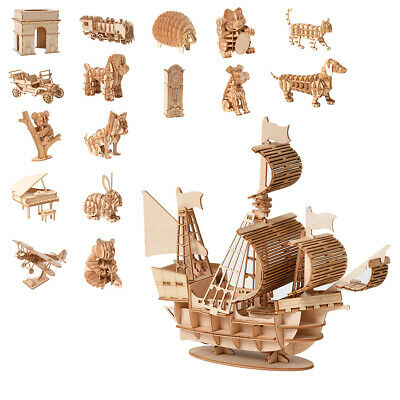 Jigsaw Puzzles 3D Wooden Model Self-Assembly Toy Educational For Kids Adult IR • 7.69£