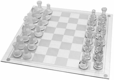 Traditional Glass Travel Chess Board  Set For Outdoor Toy BEST Gift 32 PIECES Uk • 9.99£