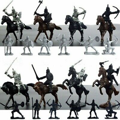 28pcs Soldier Model Medieval Knights Warriors Horses Soldiers Figures Toy Gifts • 6.99£