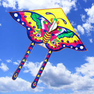 90*50cm Children/Kids Kite Butterfly Toy Outdoor Flying Activity Game With Tail • 4.29£