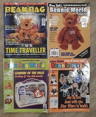 4 Vintage Beanie Baby Magazines - Beanie World, Bean Bag World, Bean Bag Monthly • 14.99£