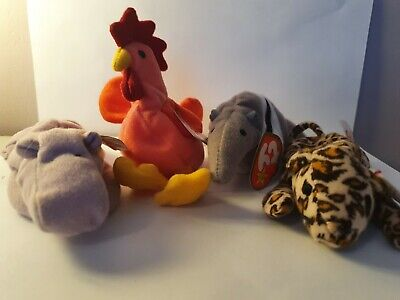 TY Teenie Beanie Babies Rooster, Hippo, Anteater & Leopard Retired McDonald's 93 • 4.99£