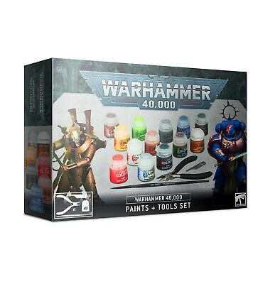 GAMES WORKSHOP 40K PAINTS AND TOOLS SET WARHAMMER 20% Off UK Rrp • 22£