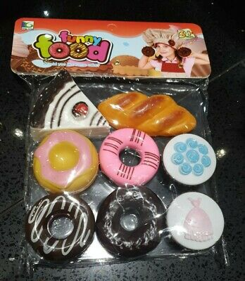 New Bag 8 Cakes Donuts Muffins For Bakery Shop Toy Kitchen Childs Toy Food Set  • 8.99£