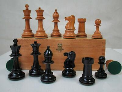 ANTIQUE CHESS SET WEIGHTED  STAUNTON  PATTERN  K 94 Mm +  BOX NO BOARD • 195£