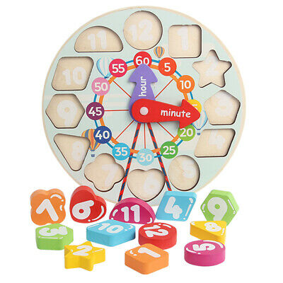 Children Kids Wooden Wood Learning Clock Shape Puzzle Early Educational Toy UK • 6.99£