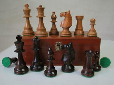 VINTAGE CHESS SET FRENCH LARDY TOURNAMEN STAUNTON  K 95 Mm  + ORIG BOX NO BOARD • 149.99£