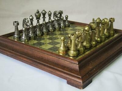 VINTAGE ITALIAN CHESS SET METAL STAUNTON PATTERN 75 Mm AND ORIG CHESS BOARD • 159.99£