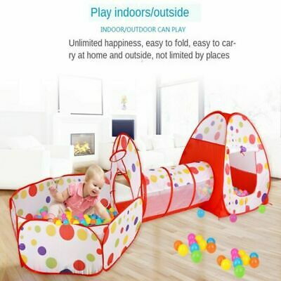 3 In1 Kids Play Tent Toddler Tunnel Ball Pit Toy Pop Up Playhouse Palace Games • 15.59£