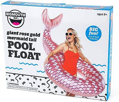 Giant Rose Gold Mermaid Tail Pool Float • 9.99£