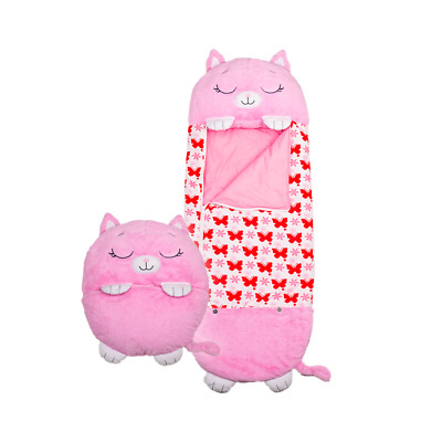 Happy Nappers Sleeping Bag Play Pillow Pink Kitty Cat Medium • 39.99£