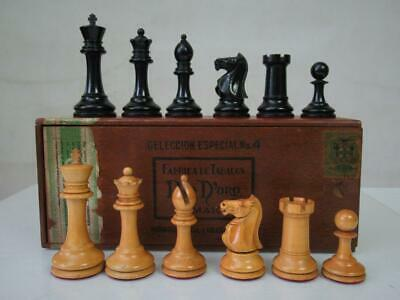 Antique English Club Chess Set  Jaques Pattern  Ayres  K 4   + Nice Box No Board • 379.99£
