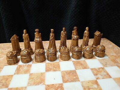 Large Heavy Stunning Full Complete Set Of Scottish Chess Chessmen Game Pieces. • 32£