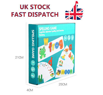 Wooden Developmental Toys Puzzle Preschool Spelling Game Matching Letter Game UK • 8.27£