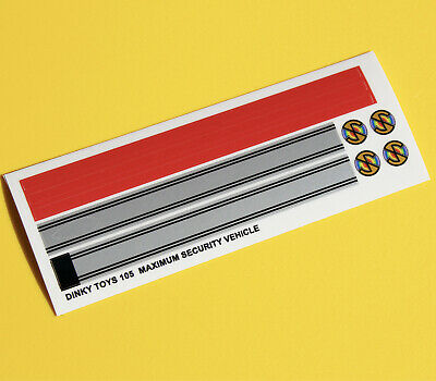 DINKY No. 105 MAXIUMUM SECURITY VEHICLE Metallic Sticker Decal Reproductions • 4.95£