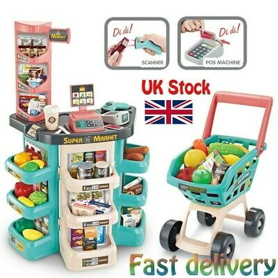 Shopping Grocery Play Store For Kids With Shopping Cart And Scanner-Green • 28.65£